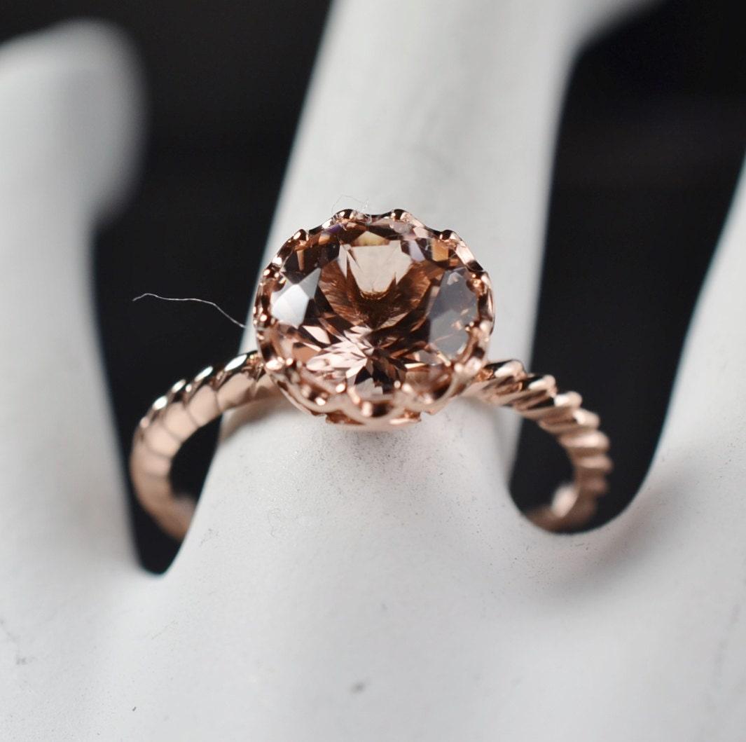 2 Carats Morganite Ring 14K Rose Gold 699 Retail
