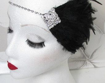 Black Diamante Feather Headpiece Silver Flapper 20s Headband Great Gatsby i75