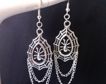 Silver Gothic Earrings , Spider Earrings , Spiders Web Dangling Halloween Earrings , Cobweb Earrings , Teardrop Earrings , Halloween Jewelry