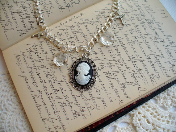 Black & White Cameo Necklace, Cameo Crystal Necklace, Vintage Crystal Necklace, Cross Necklace,  Double Silver Chain Necklace, Marjorie Mae