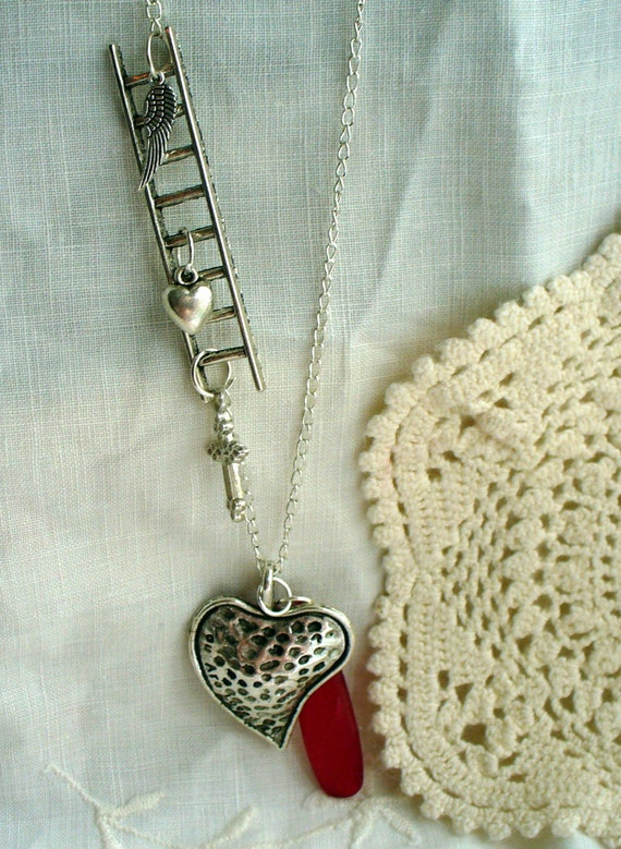 Silver Ladder Necklace, Charm Necklace, Heart Necklace, Silver Heart Pendant, Red Crystal Necklace, Affordable Necklace, Marjorie Mae