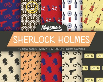 Sherlock Holmes Digital Paper - SHERLOCK HOLMES - with sherlock holmes detective british london element red blue pattern for Scrapbooking