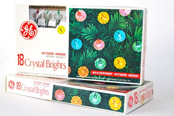 Vintage 1960s Christmas Lights GE Crystal Brights 18 Rare