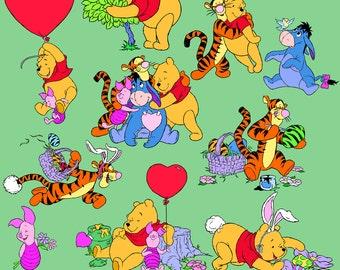 Winnie The Pooh Clipart 30 PNG Tigger Eeyore Piglet Burro Disney Cartoon Character Digital Graphic Clip Art Invitations Printable 300 dpi