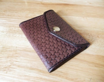 Handmade Tri-Fold Leather Wallet - Mahogany Basket Weave