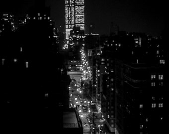 Vintage Black and White Photography Fine Art Print, Twin Towers At Night