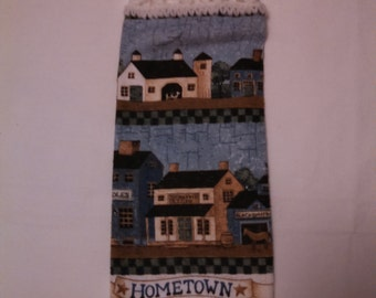 Old Time Hometown Scene Kitchen Hanging Towel