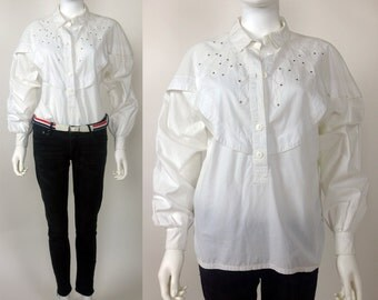 80s Less Than Zero cotton woven broderie anglaise embroidered blouse