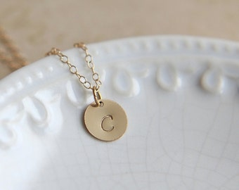 Gold Initial Necklace, Monogram Necklace, Personalized Hand Stamped Jewelry, Personalized Necklace, Gold Disc Necklace, Everyday Necklace