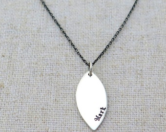 Personalized Simple Leaf in Sterling Silver • Dainty Pendant • Layering Jewelry • Initial • Name • Date • Minimal • Customize • Geometric