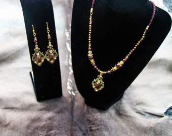 Maroon & Gold Necklace with Earrings set