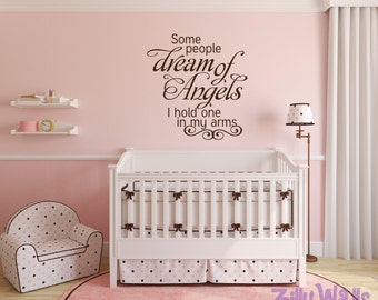 Nursery  Room Some People Dream of Angels Decal for Boys & Girls Room Playroom Kids Vinyl Decal Childrens Decor