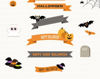 Halloween Ribbons Clipart. Halloween Clipart. Halloween Labels. Happy Halloween. 14 images, 300 dpi. Eps, Png files. Instant Download.