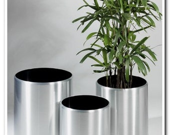 Large Modern Planters - Spun in Brushed Aluminium. Three sizes available