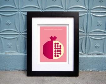 Hand-signed pomegranate poster fruit print for home/office. Geometric design, kitchen art, pomegranate print, pomegranate art, modern poster