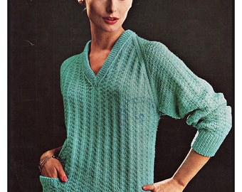 Lady's Sweater in Double Knitting Double Crepe - Lister N1391