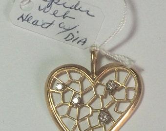 14K Gold Heart Spider Web With Diamonds Pendant