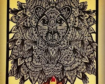 Lion Paper Cut