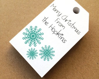 Custom printed gift tags holiday tags christmas tags snowflake tags merry christmas happy holiday tags favor tags set of 25