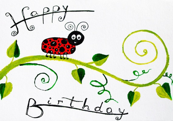 Birthday card Children birthday card kids cards baby birthday – Ladybug Birthday Cards
