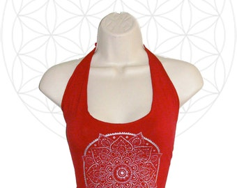 Mandala Halter - Crop top made from organic cotton and bamboo jersey - Red with silver print