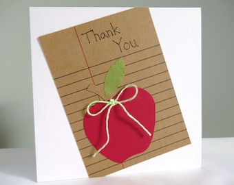 Teacher thank you card - teacher appreciation card - apple thank you teacher - red apple - school thank you - end of term - uk free delivery