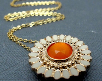 "White Sunflower Gold Necklace // Yellow Rhinestone Center Sunflower Charm // 17"" Gold Plated Chain"