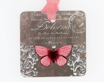 Coral Butterfly Tags , Brown Tags ,  French , Vintage Style , Wedding Tags ,  Butterfly Gift Tags , Pink and Brown