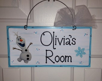 Disney Inspired OLAF Frozen Personalized Name Sign-Handpainted door wall wood plaque hanger Elsa Anna Birthday Party Teacher Classroom