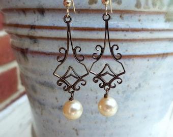 Victorian Style Filagree Pearl Earrings/Antiqued Brass And Pearl Dangle Earrings/Bridesmaid/Bridal Earrings