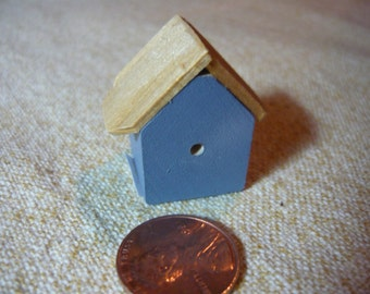 Bird House Hand Painted Miniature Wood Blue 1/12 scale dollhouse