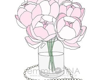 Pink Peonies Decorative Illustration Art Print