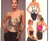 Pinup Evening tops pattern 80s Retro Vintage pattern Style 4940 wrap front top or boned strapless tops sewing pattern  Sz 12 Bust 34