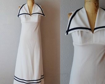vintage 1970s SAILORETTE maxi dress / cut out open back dress