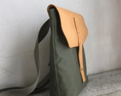 Army Green Canvas Messenger Tote Bag Natural Leather Unisex