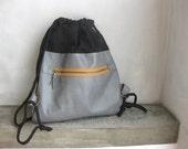 Black Grey Backpack Drawstring Cinch Sack Black Canvas and Grey Leather