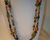 2 Vintage Glass Bead Necklaces with Orange, Green, Gold Glass Beads