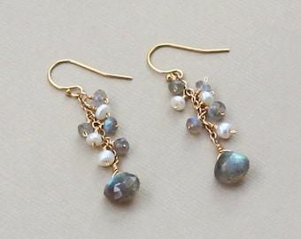 Labradorite Earrings, Labradorite Jewelry, Gray Labradorite Pearl Long Earring, Rose Gold, Gold or Silver, Grey Earring