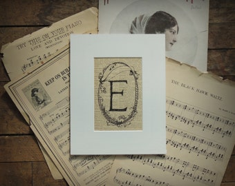 "PRINT of Letter E ""cameogram"" original ink drawing on vintage dictionary page"