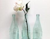 Mint Wedding, Aqua Glass Bottle, ONE, Nautical Wedding, Mint Glass Bottle, Bottle for Vase, Wedding Ideas, DIY Wedding, Mint Green Glass