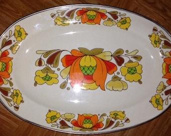 ENAMELWARE PLATTER Vintage Sanko Country Flowers, Turkey Platter, Turkey Bird Planter, Country Flowers, Porcelain Enamel Steel Oven to Table