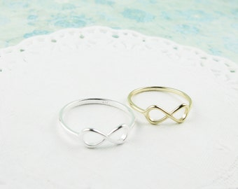 Sterling Silver. Dainty Infinity Ring in silver and gold. Hypoallergenic, Valentine's day gift , bride's maid's present, promise ring