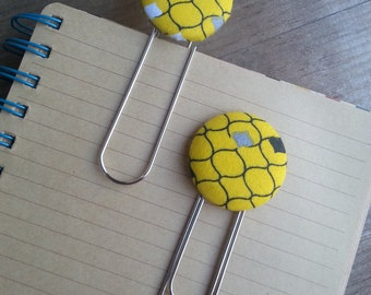 2 Jumbo Yellow, Black, Gray and White Geometric Motif Fabric Covered Button Bookmarks with Large Paper Clip