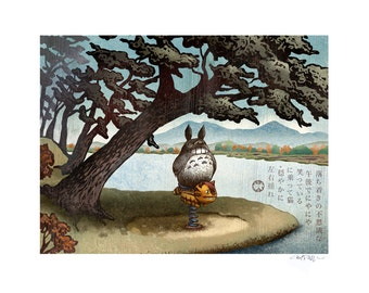 Spring Ride 11 x 14 Signed Print -Totoro and Catbus Japanese Style