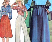Vintage 70's Sewing Pattern, Misses' Wrap Skirt and Shirt, Size 10, Bust 32 1/2