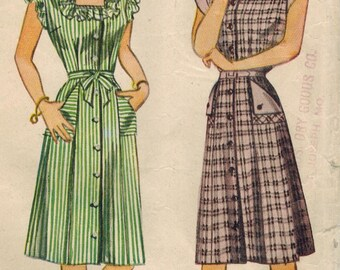 1940s Simplicity 1283 Vintage Sewing Pattern Misses Summer Dress Size 14 Bust 32, Size 16 Bust 34