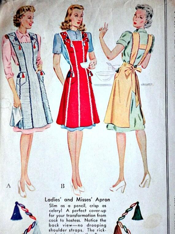 Vintage des ann es 40 patron de couture de mccall 987 tablier for Patron tablier vintage