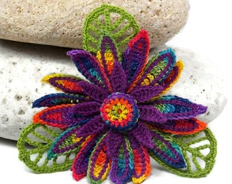 Crochet Brooch Fiber Brooch Irish Crochet Pin Daisy Brooch Rainbow Yellow Orange Blue Red Violet Green Navy Crochet Flower Pin Flower Brooch