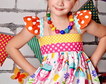 Made to match the Unicorn Rainbow Dress by Blu Moon Design Chunky Necklace