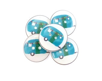 "RV or Camper Buttons. 5 handmade Decorative Craft Novelty Recreational Vehicle or Camping Trailer Sewing Buttons. 3/4"" or 20 mm."
